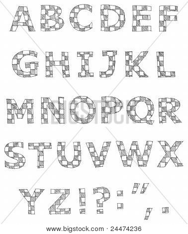Hand Written Checkered Alphabet