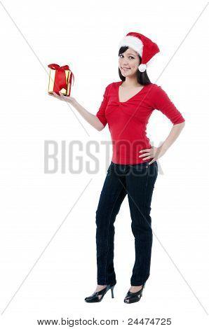 Cute Christmas Woman Holding Gift Box