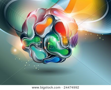 Vector Abstract Shining Ball On A Dark Background