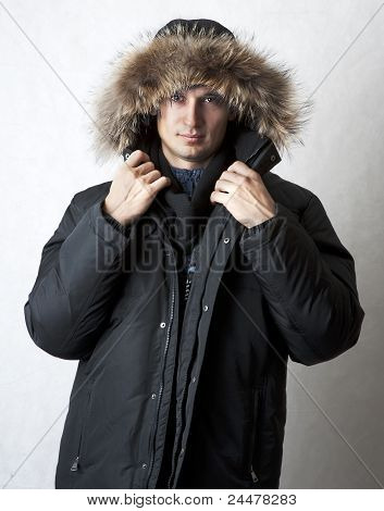Man In Black Fur Hood Winter Jacket