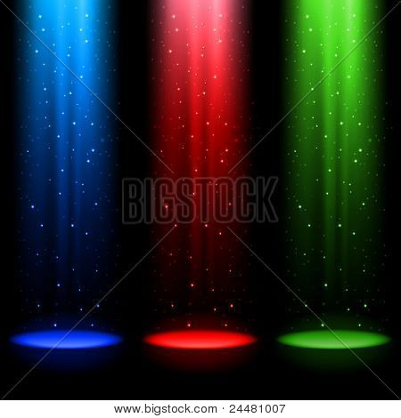 Three RGB shafts of light