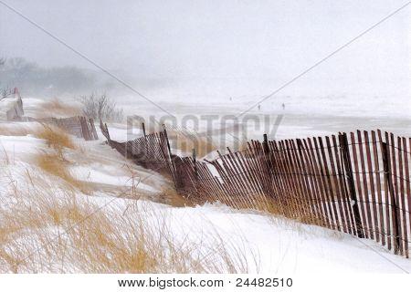 Tormenta de nieve en la playa de plata, tres personas un paseo en la tormenta (textura añadido)