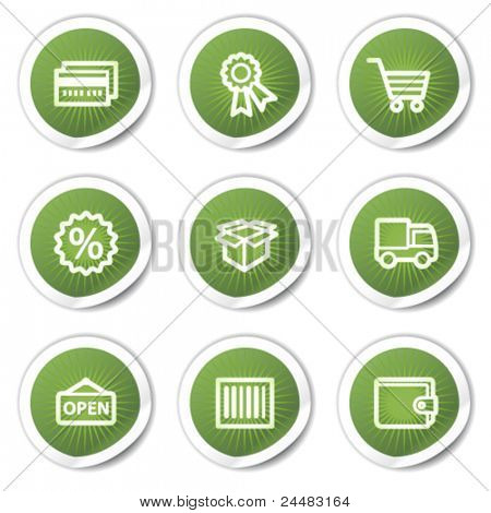 Shopping web icons set 2, green stickers