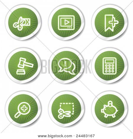 Shopping web icons set 3, green stickers