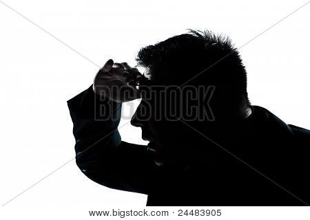 one caucasian man portrait silhouette looking forward gesture in studio isolated on white background