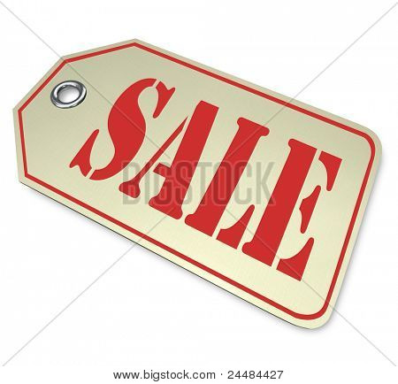 A price tag with the word Sale, illustrating a reduced discount or markdown on merchandise during a limited-time clearance event at a store or online retailer