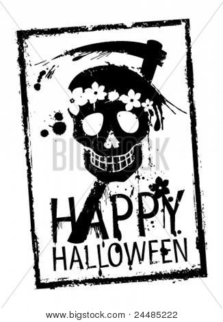 Happy Halloween rubber stamp with grunge skull.