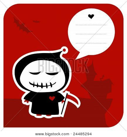 Funny Grim Reaper Halloween Greeting Card