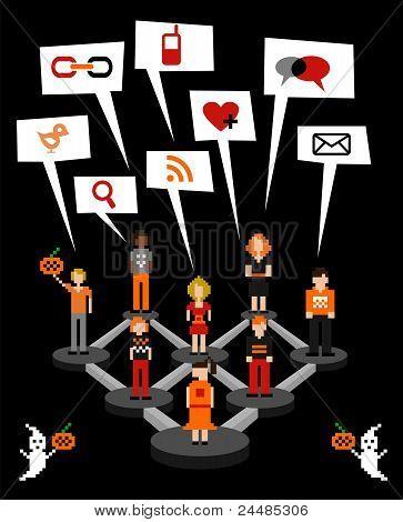 Diagrama de conexión de red social en Halloween