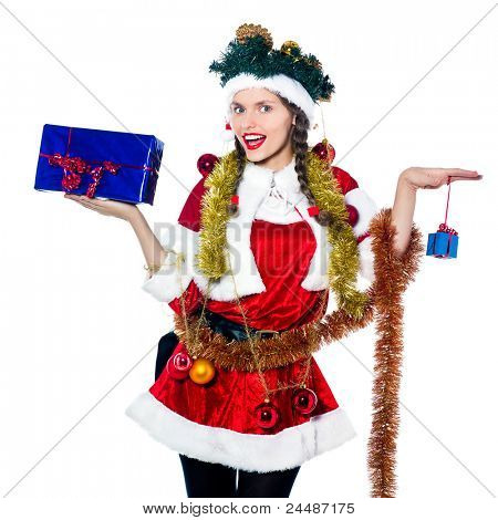 one woman dressed as santa claus holding presents gifts as christmas tree on studio isolated white background