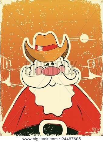 Santa Claus With Cowboy Hat .retro Card