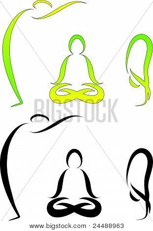Vector Illustration of Yoga Asanas