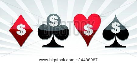 Set of card suit with dollar sign illustration
