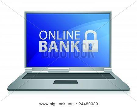 Online bank laptop illustration design