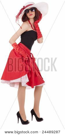 Fashion girl in retro style