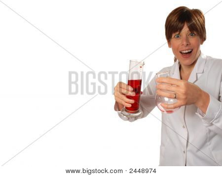 Excited Young Scientist Pours Liquid