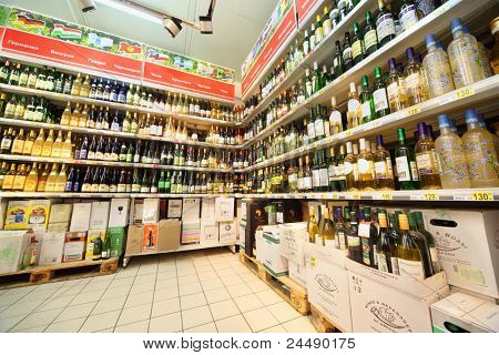 MOSCOW - FEBRUARY 6: Shelves with wine in shop, on February 6, 2011 in Moscow, Russia. In Moscow, trade of alcohol is prohibited from 22:00 to 8:00.