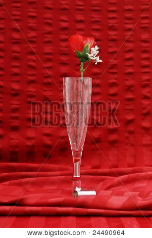 Champagne Glass With Red Rose