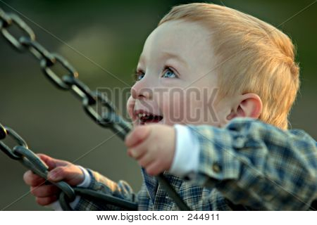 Cute Boy On Swing