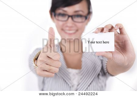 Beautiful Asian Woman Showing Thumbs Up