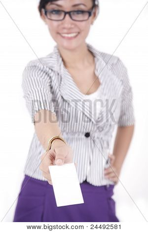 Fasionable Business Woman  With Empty Business Card