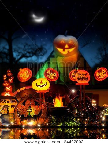 Happy Halloween image with lots of glowing jackolanterns in fantastical spooky environment