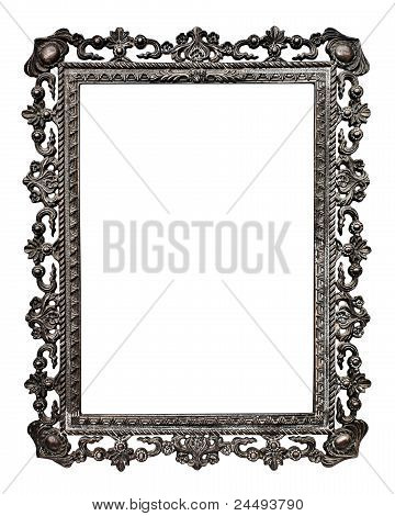 Old Metallic Picture Frame, Isolated On White Background (no#13)