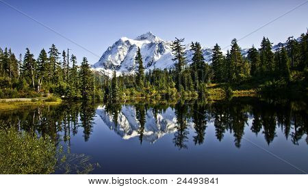Mount Shuksan In Picture Lake
