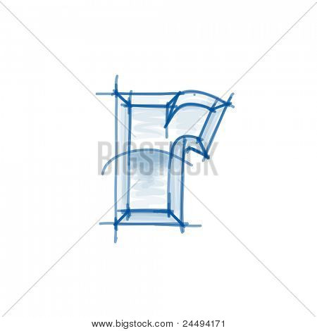 Blueprint font sketch - letter r - marker drawing. Bitmap copy my vector