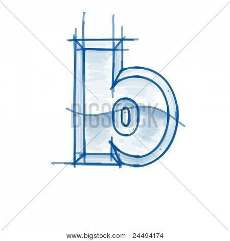 Blueprint font sketch - letter b - marker drawing. Bitmap copy my vector