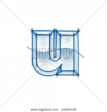 Blueprint font sketch - letter u - marker drawing. Bitmap copy my vector