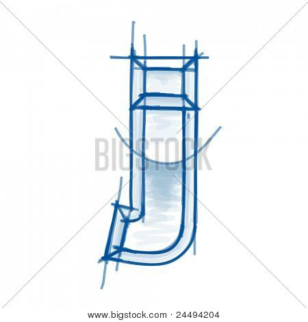 Blueprint font sketch - letter j - marker drawing. Bitmap copy my vector