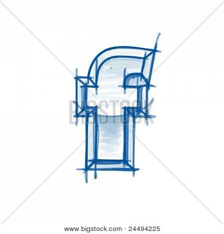 Blueprint font sketch - letter f - marker drawing. Bitmap copy my vector