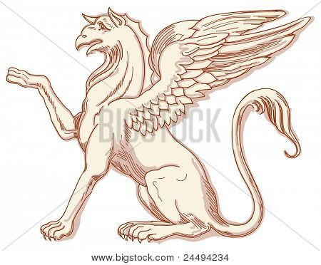 Griffin - hand draw sketch. Bitmap copy my vector ID 84635956