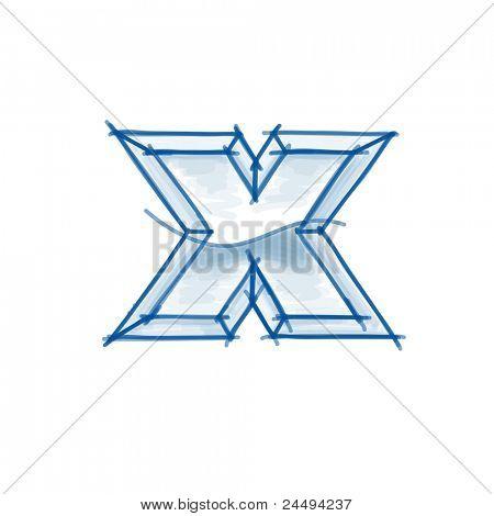 Blueprint font sketch - letter x - marker drawing. Bitmap copy my vector