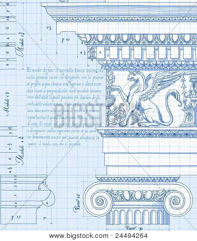 Blueprint - hand draw sketch ionic architectural order. Bitmap copy my vector ID 86211829