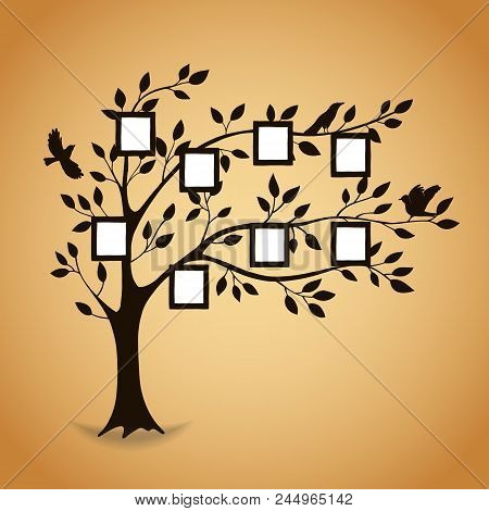poster of Family Tree With Photo Frames. Memories. Insert Your Photo Into Template Frames. Collage Vector Illu