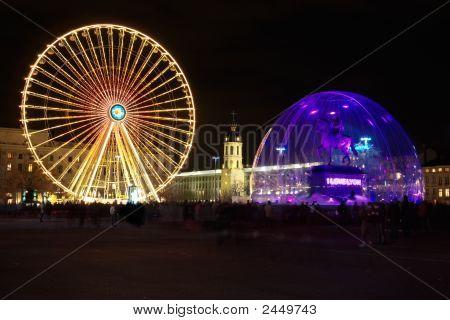 Bellecour Square In Lyon During Light Festival