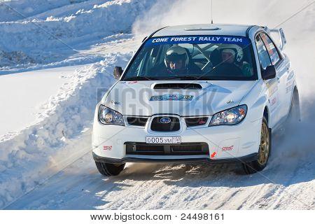 Rostov, Russia - Fubruary 07: Igor Sedov Drives A White Subaru Impreza Car During Rostov Velikiy Rus