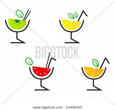 Colorful Mixed Fruit Retro Drinks / Cocktail Isolated On White ..
