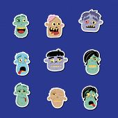 Funny Zombie Avatar Icon Set. Halloween Holiday Undead Sign, Monster Heads With Emotional Faces, Zom poster