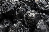 Background Garbage Bag Black Bin Waste, Garbage Dump, Bin, Trash, Garbage, Rubbish, Plastic Bags Pil poster