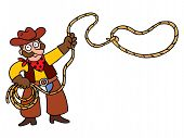 stock photo of lasso  - illustration of cartoon cowboy with lasso - JPG
