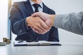Handshake Of Cooperation Customer And Salesman After Agreement, Successful Car Loan Contract Buying  poster