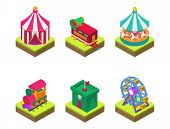 Circus Isometric Tent Marquee With Stripes And Flags Carnival Entertainment Amusement Lelements Flat poster