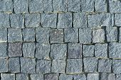 The Pavement Laid With Square Stone Cobbles Of Granite. Rough Stones, Rough. The Shape Of The Stones poster