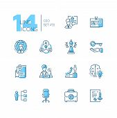 Ceo - Set Of Line Design Style Icons Isolated On White Background. High Quality Minimalistic Black A poster