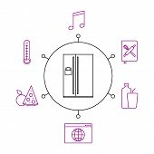 Smart Refrigerator, Smart Home, Iot Flat Vector Illustration. Concept Of The Internet Of Things, Ele poster