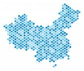 Blue Dotted China Map. Vector Geographic Map In Blue Color Tinges On A White Background. Vector Conc poster