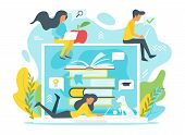Vector Flat Style Illustration Of A Group Of People Studying Online In Front Of A Huge Laptop. Minim poster